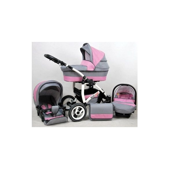 Eco Lux Multifunkciós Babakocsi (rózsaszín-szürke)