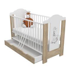 Symbaba DUMBO sonoma-fehér színű gyermekágy ágyneműtartóval
